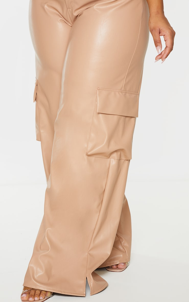 Plus Taupe PU Cargo Wide Leg Trousers 4