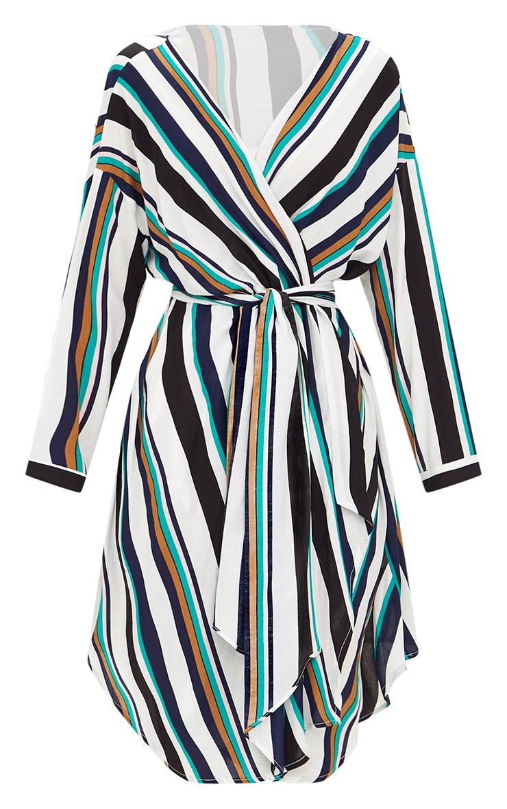 Navy Bold Stripe Tie Waist Wrap Dress 3