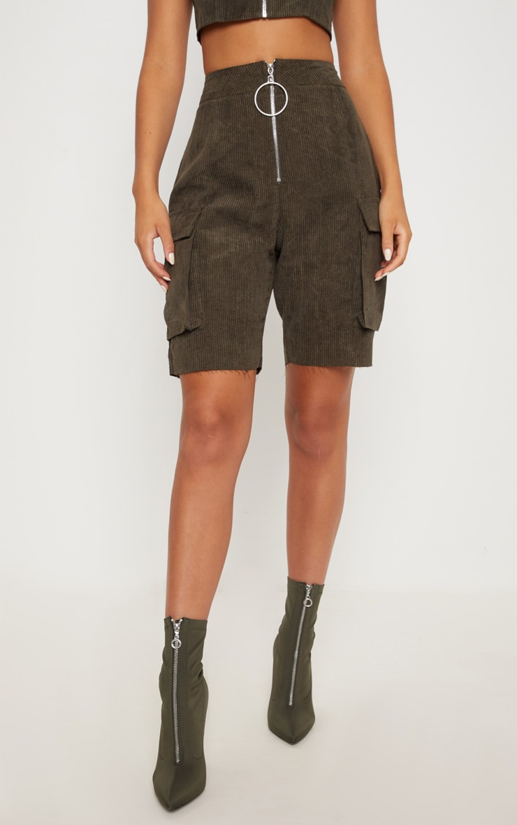 Khaki Cord Boyfriend Fit Shorts 2