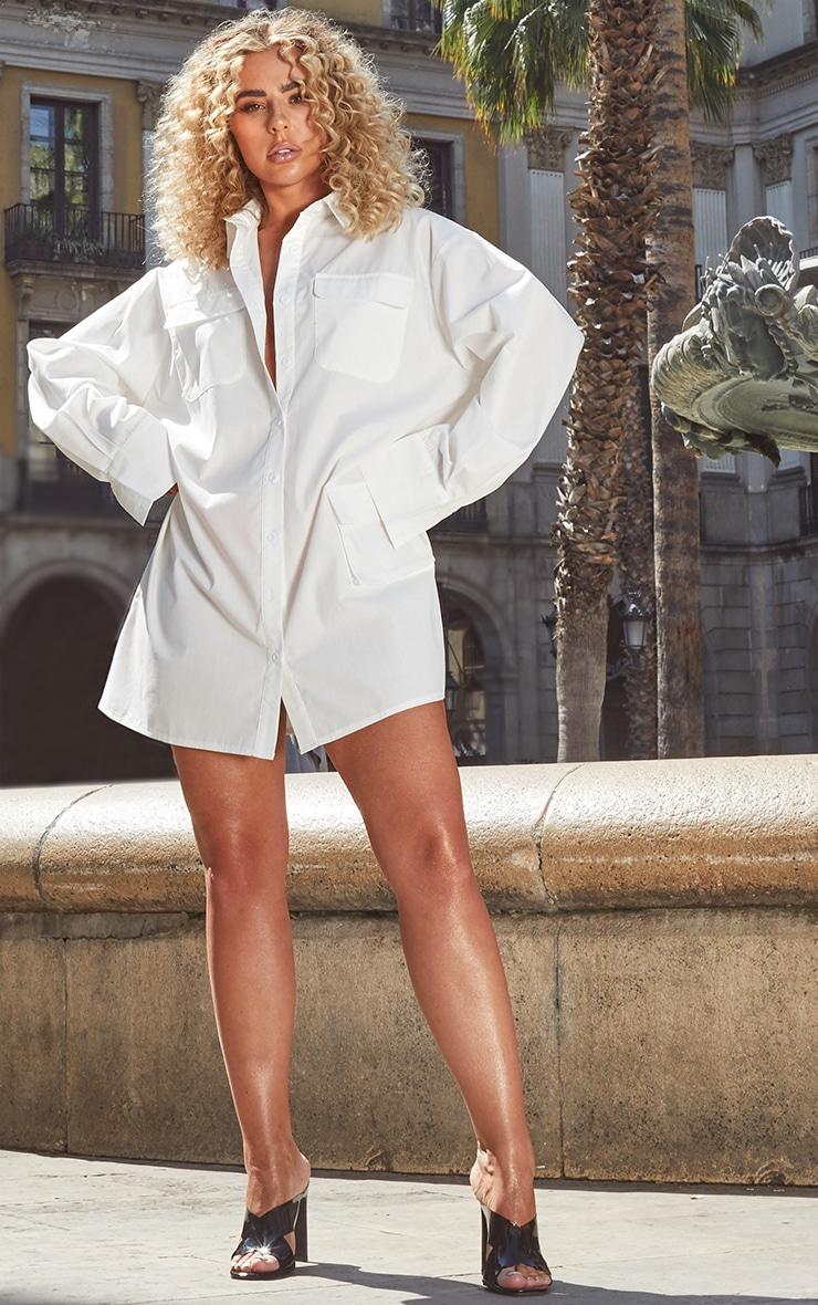Petite White Pocket Detail Long Sleeve Shirt Dress