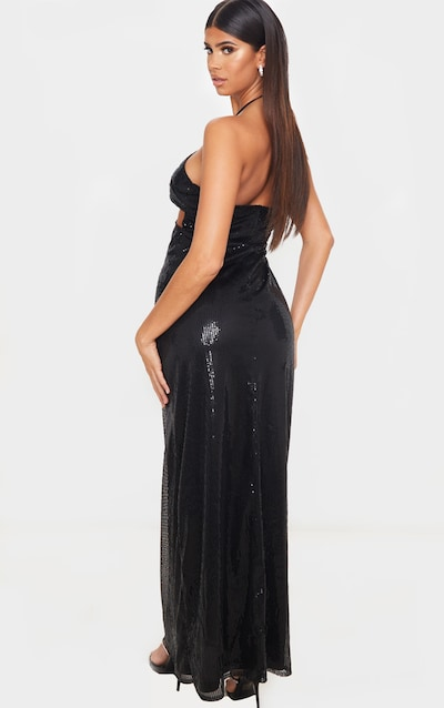 Black Sequin Cut Out Detail Halterneck Maxi Dress