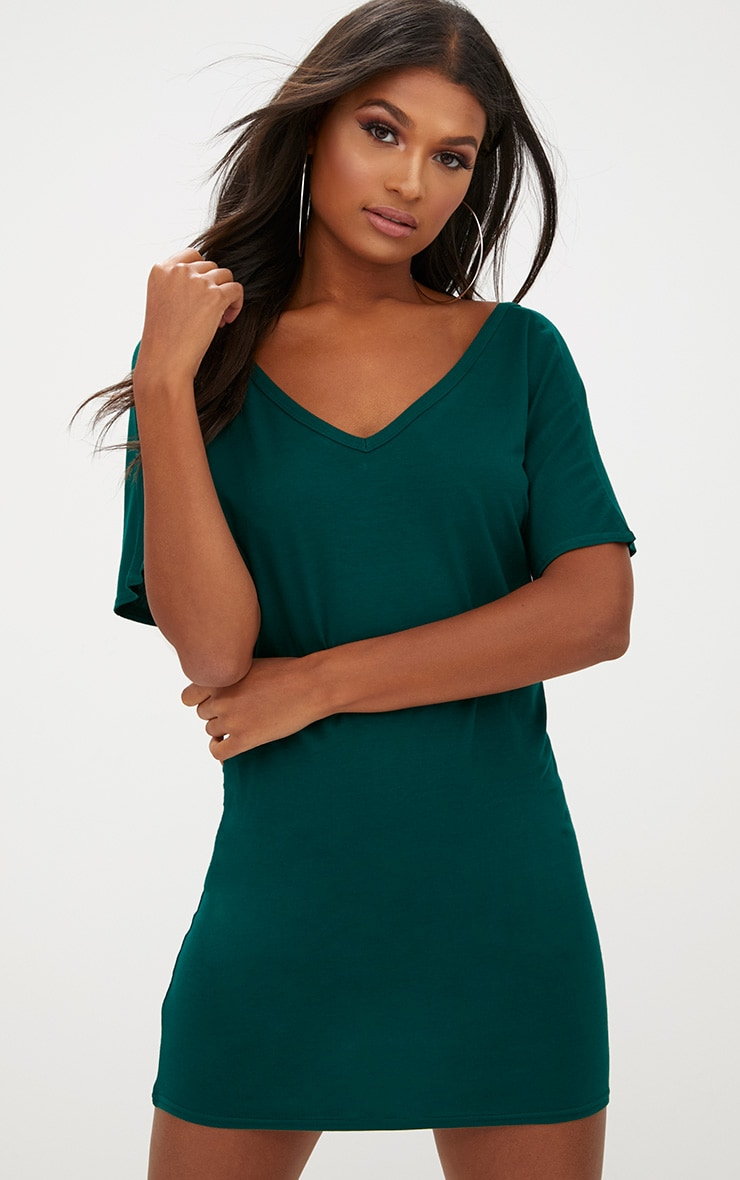 Basic Forest V Neck T Shirt Dress 1