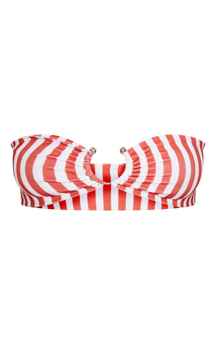 Red Striped Bandeau Ring Bikini Top 3