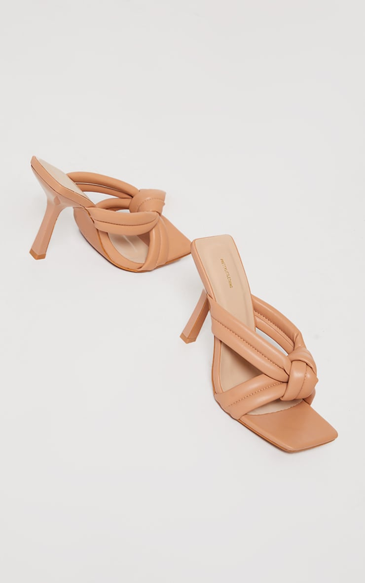 Beige Quilted Knotted High Flare Heel Mules 3