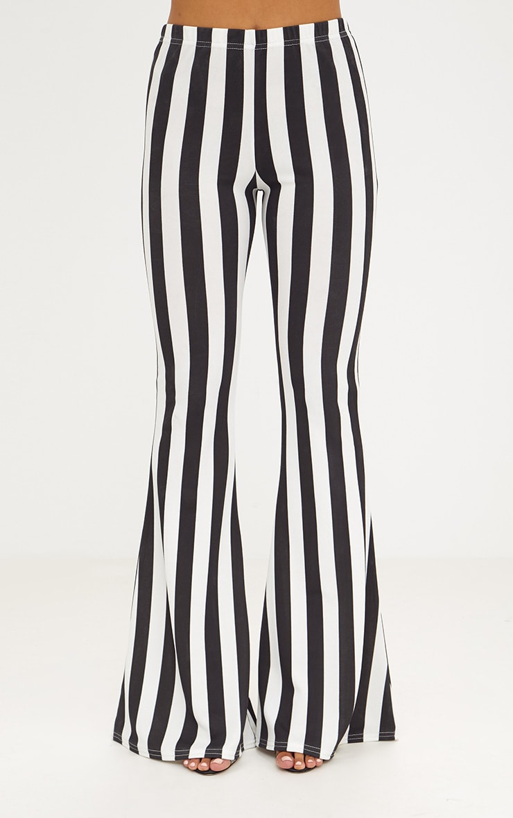 Monochrome Humbug Stripe Flared Trousers 2