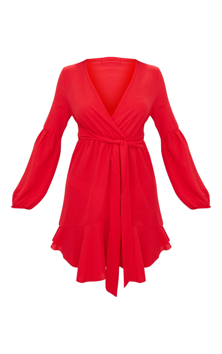 Red Long Fluted Sleeve Plunge Tie Detail Tea Dress 3