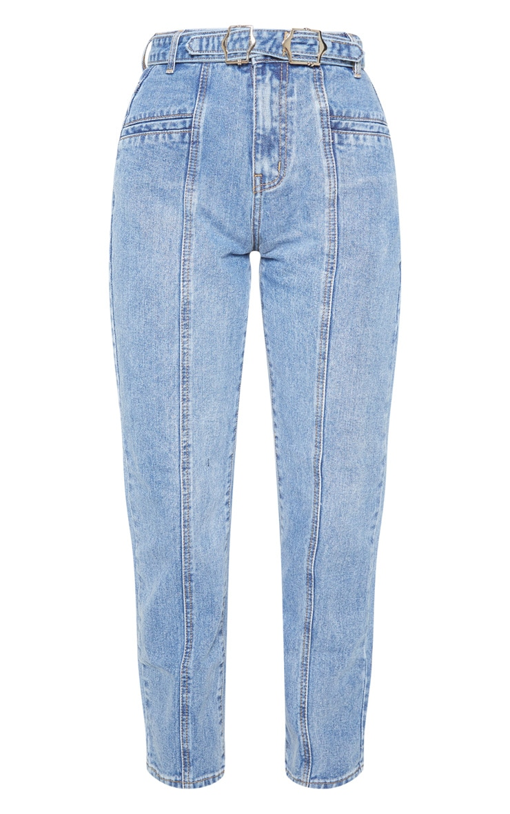 Mid Wash Double Buckle Straight Leg Jean 3