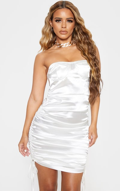 Petite White Corset Detail Ruched Side Satin Mini Dress