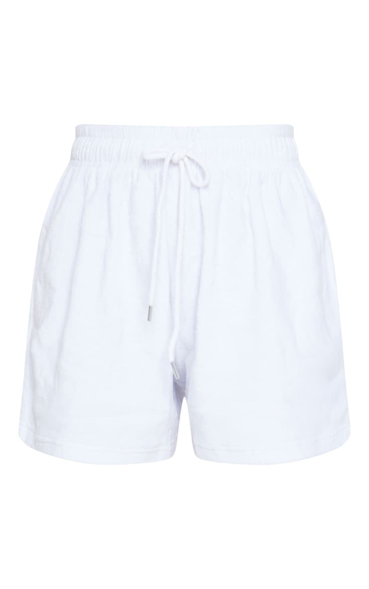White Velour Casual Shorts 6