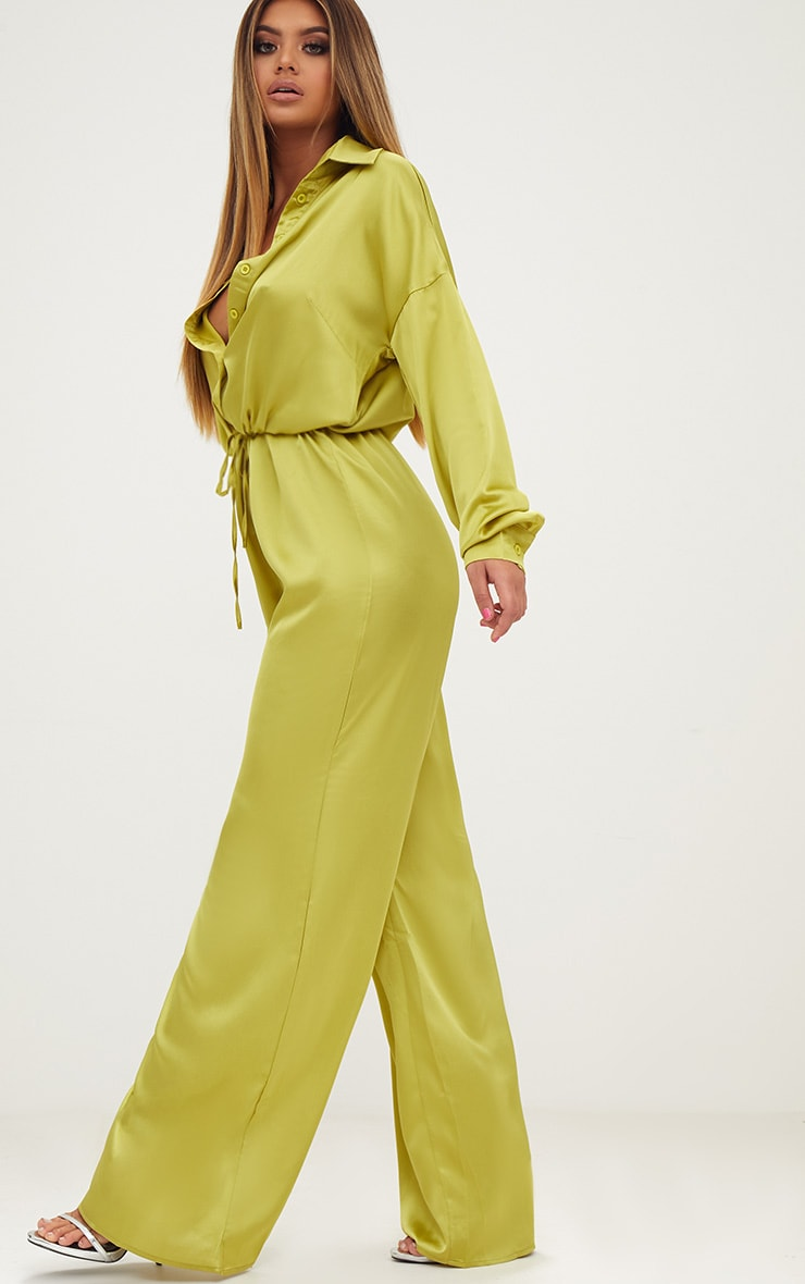 Lime Extreme Oversized Satin Wide Leg Jumpsuit  4