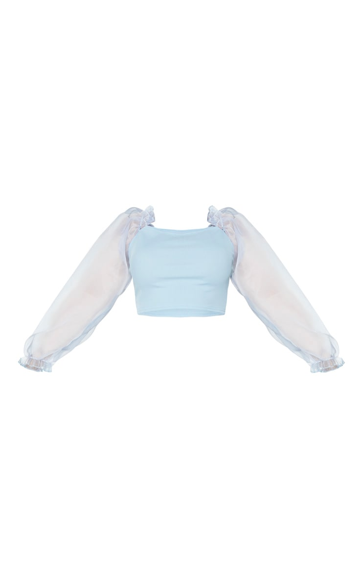 Plus Dusty Blue Organza Long Sleeve Top 3