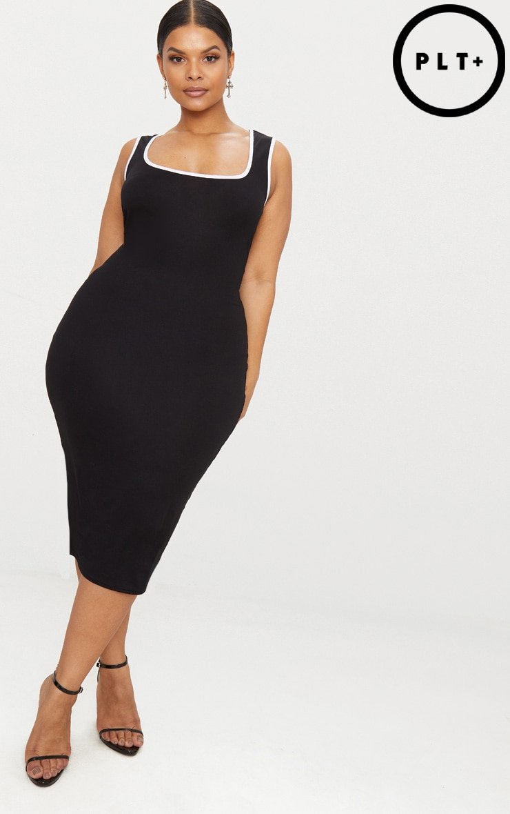 Plus Black Contrast Square Neck Midi Dress 1