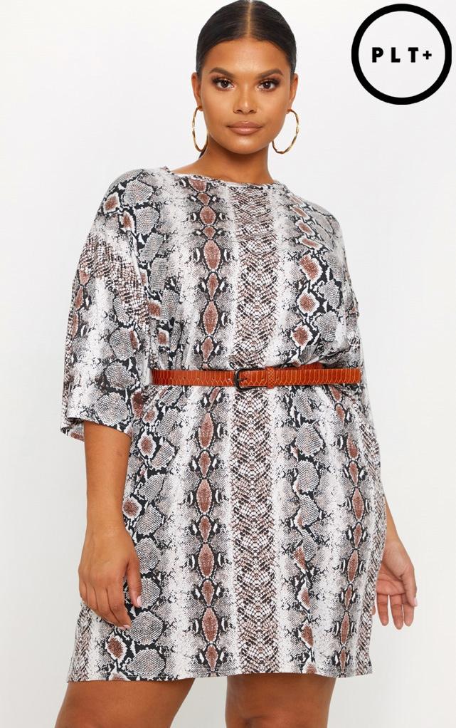 Plus Taupe Snake Print T-Shirt Dress