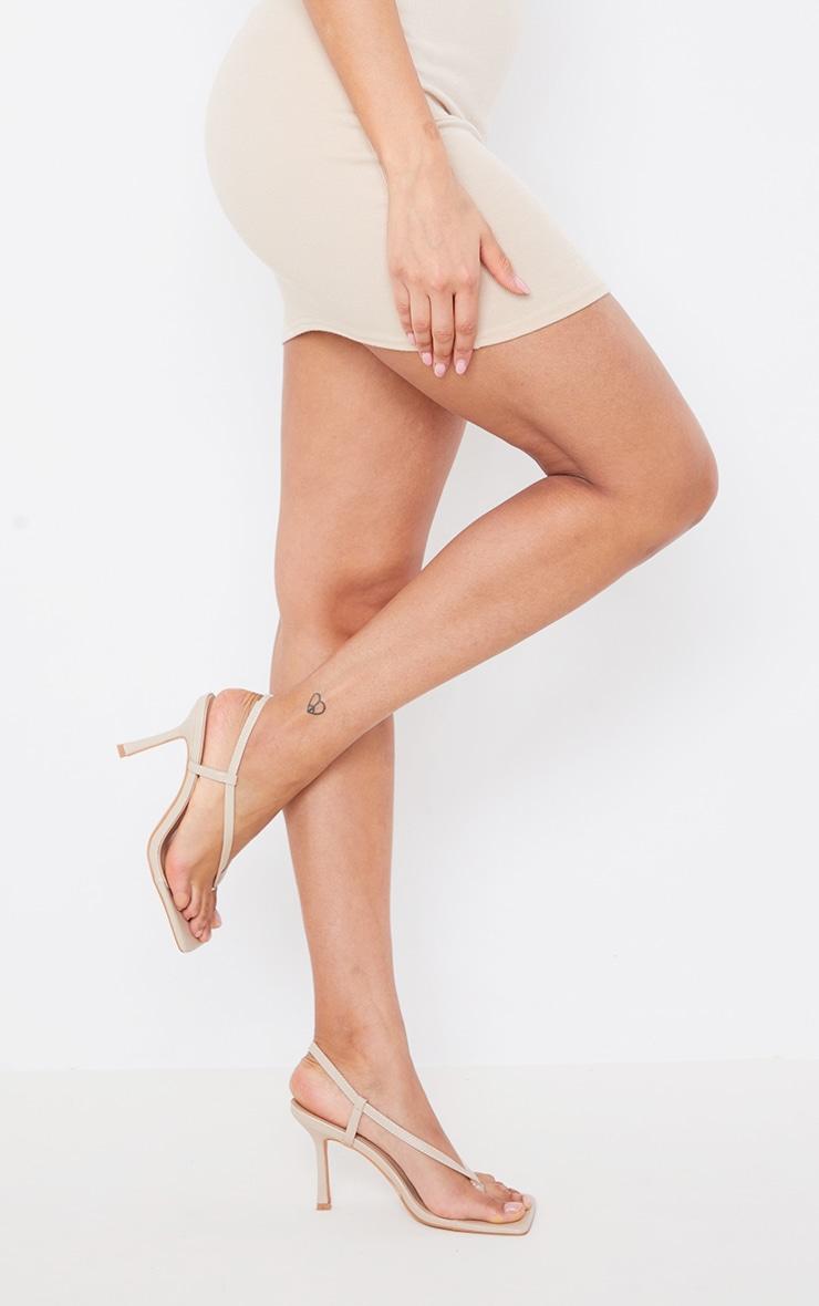 Sandales carrées en similicuir nude à bride talon 2