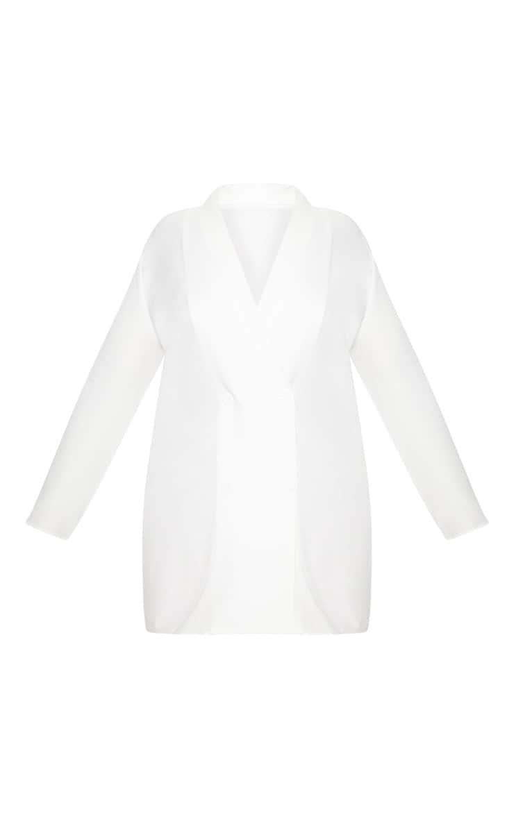 Plus White Oversized Blazer Dress 3