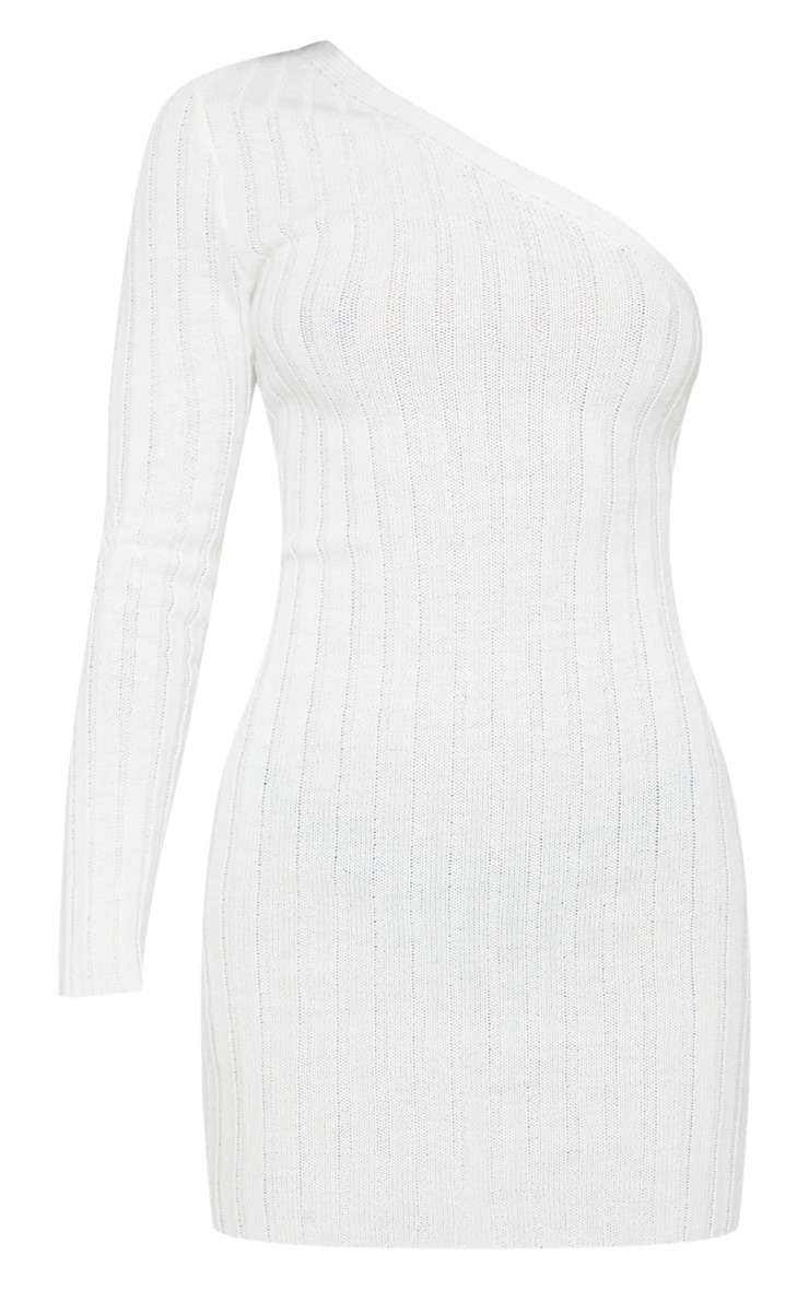 Cream Asymmetric Knitted Rib Dress 3