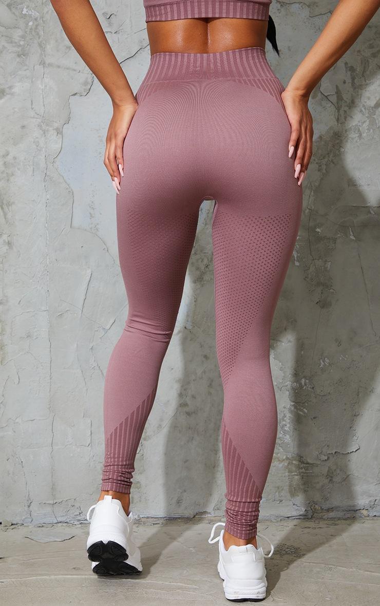 Mauve Stripe Detail Seamless Gym Leggings 3