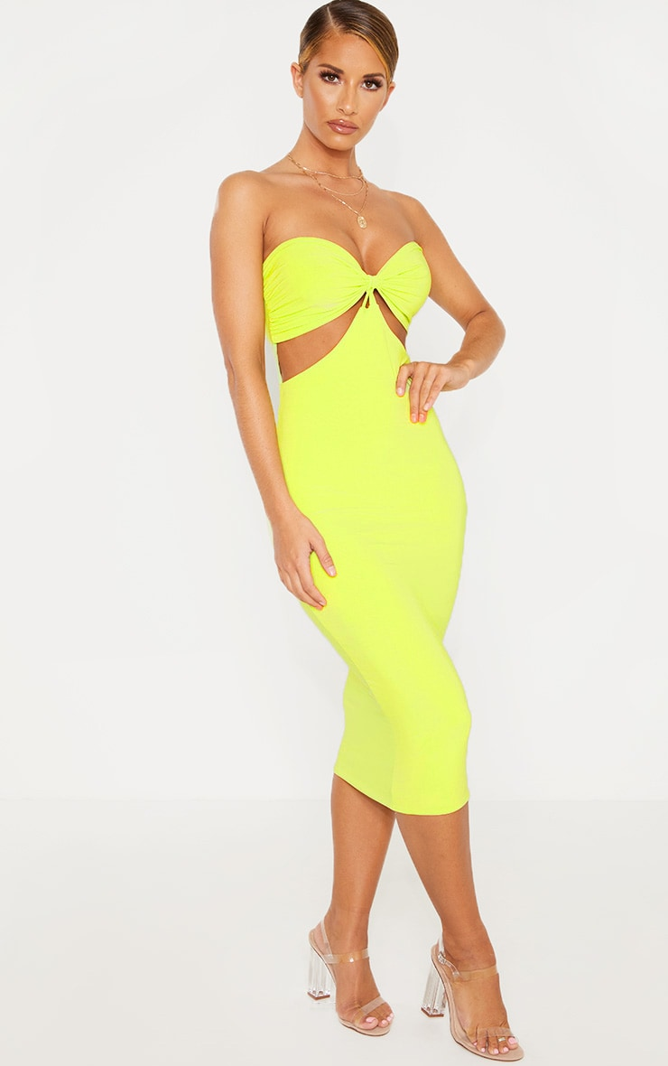 Lime Slinky Bust Detail Cut Out Midi Dress 4