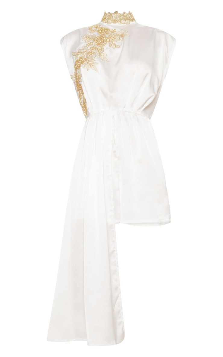 White High Neck Gold Embroidered Drape Playsuit 3