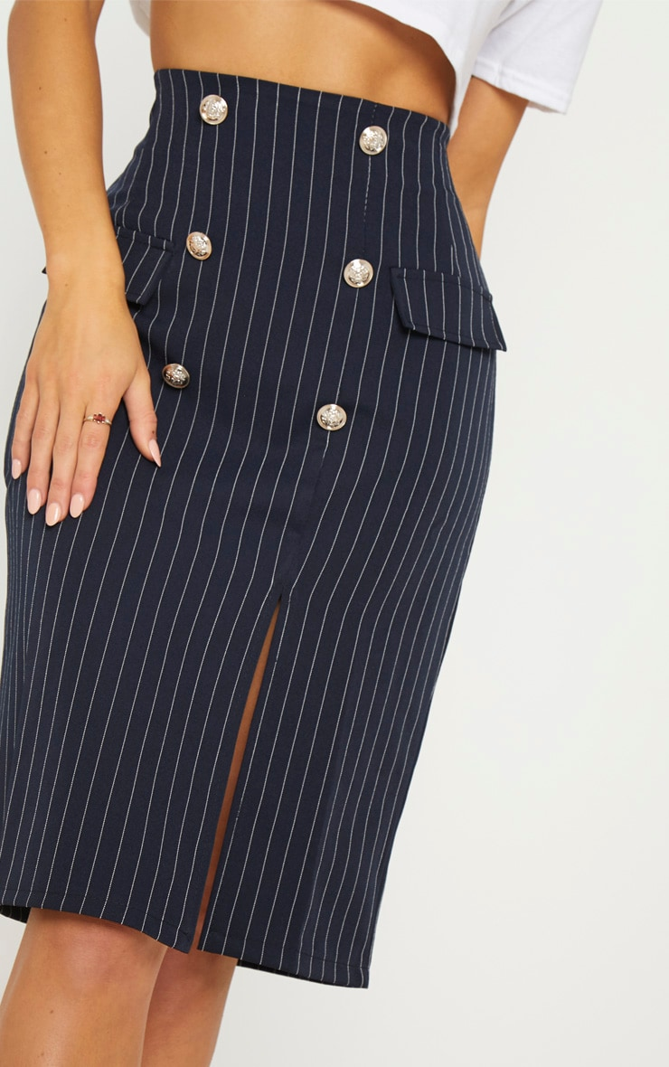 Navy Military Pinstripe Midi Skirt 5