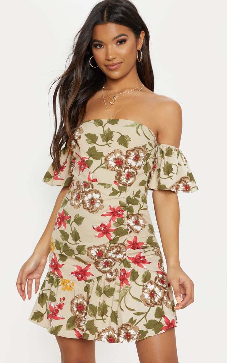 Beige Floral Frill Detail Bodycon Dress 4