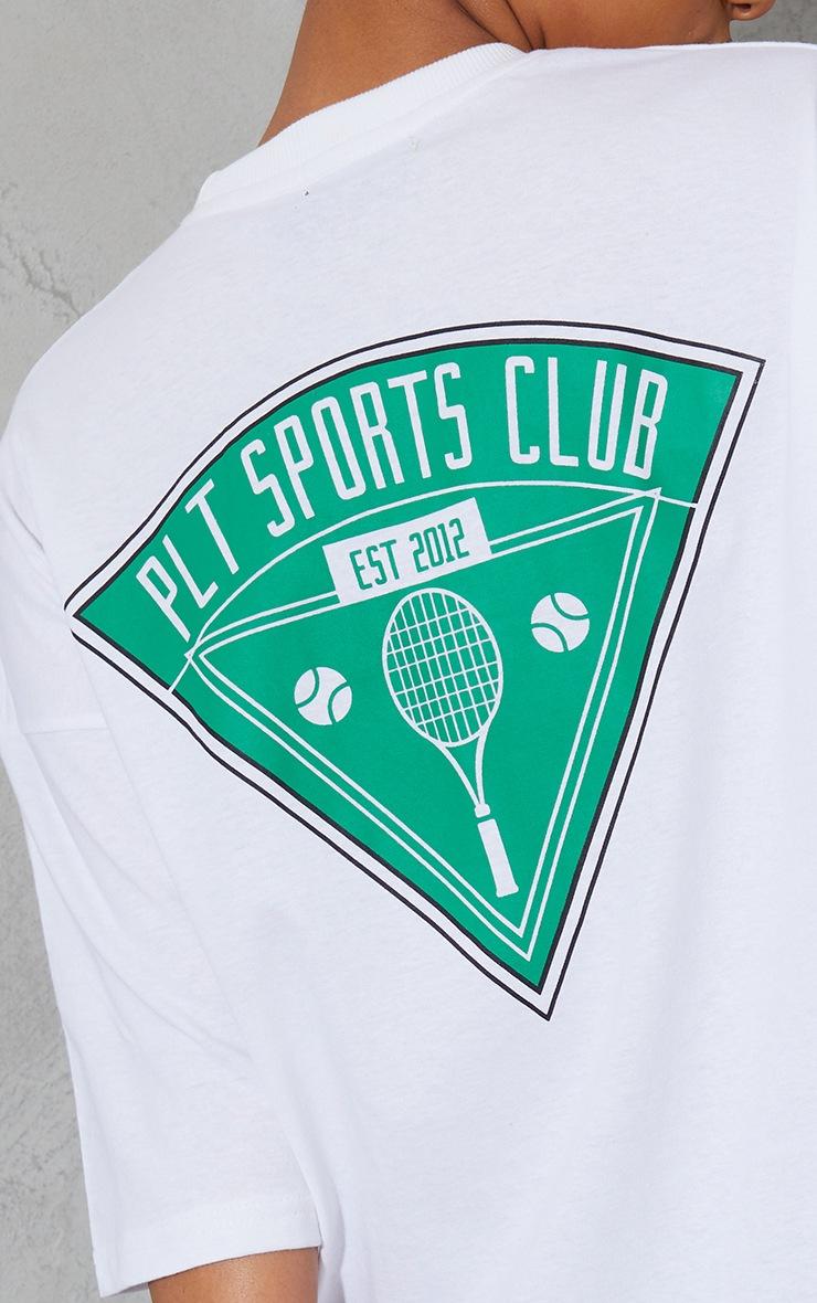 PRETTYLITTLETHING White Graphic Pocket Detail Oversized T Shirt Dress 4