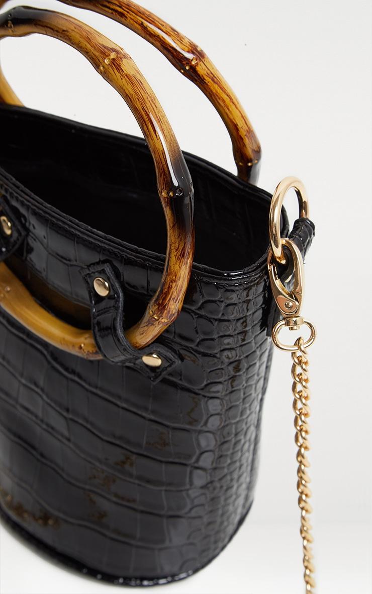 Black Patent Croc Bamboo Bucket Bag 4