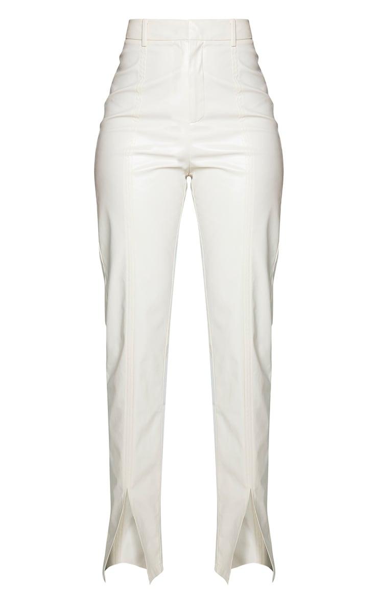 Cream Faux Leather Split Hem Seam Detail Skinny Pants 5