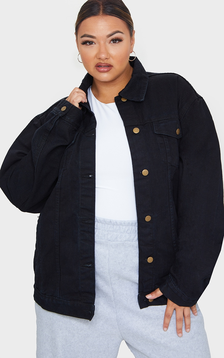 Plus Black Oversized Boyfriend Denim Jacket 1