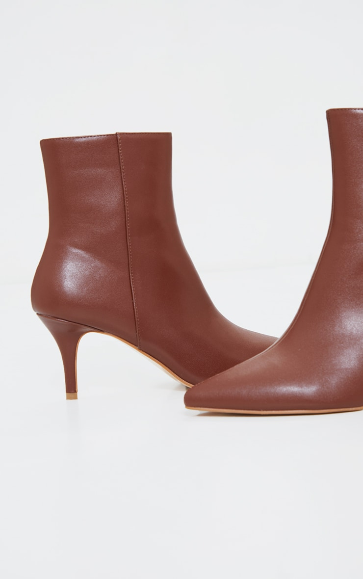 Brown Matte PU Point Toe Low Heeled Ankle Boots 4