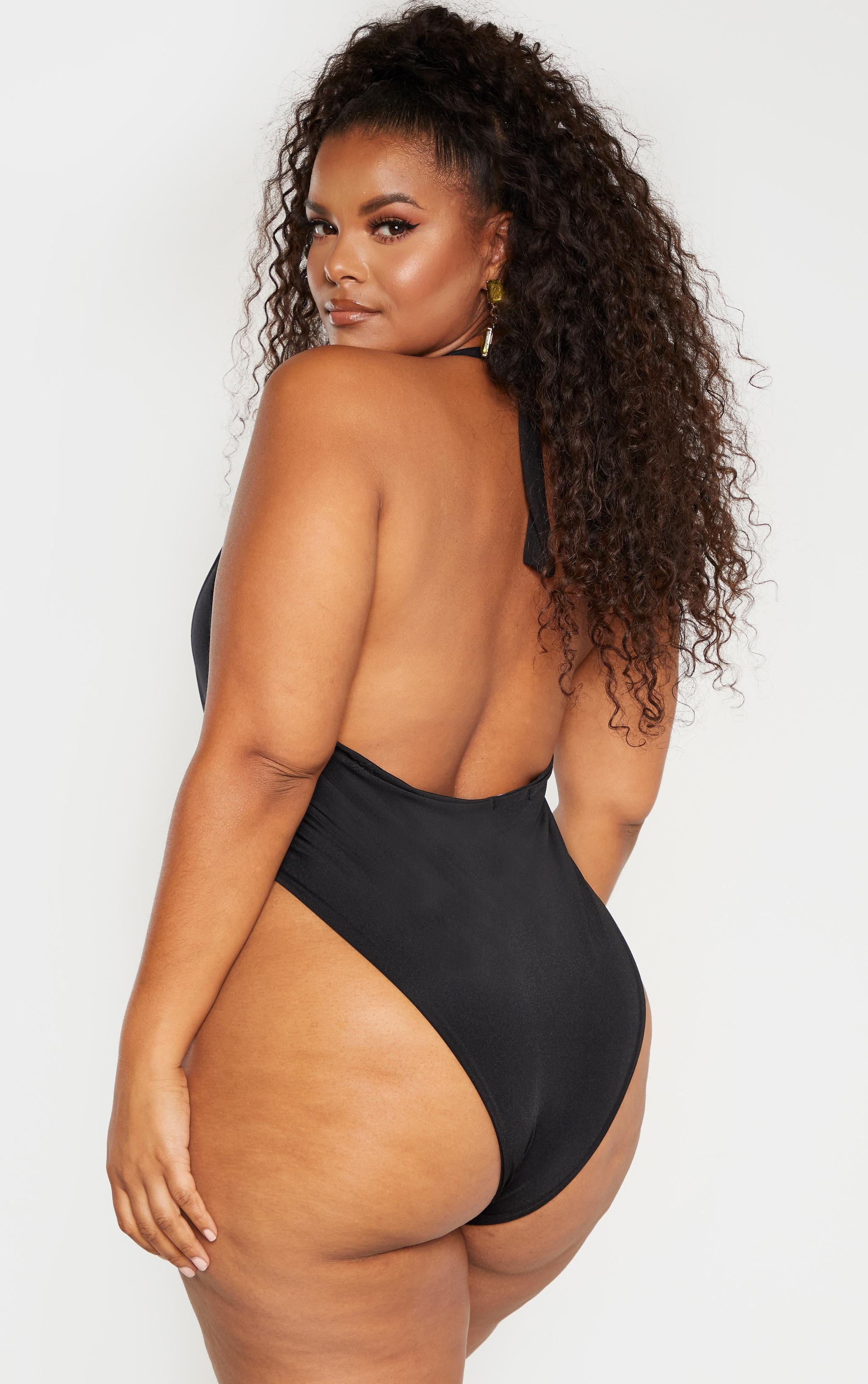 Plus Black High Leg Swimsuit 2