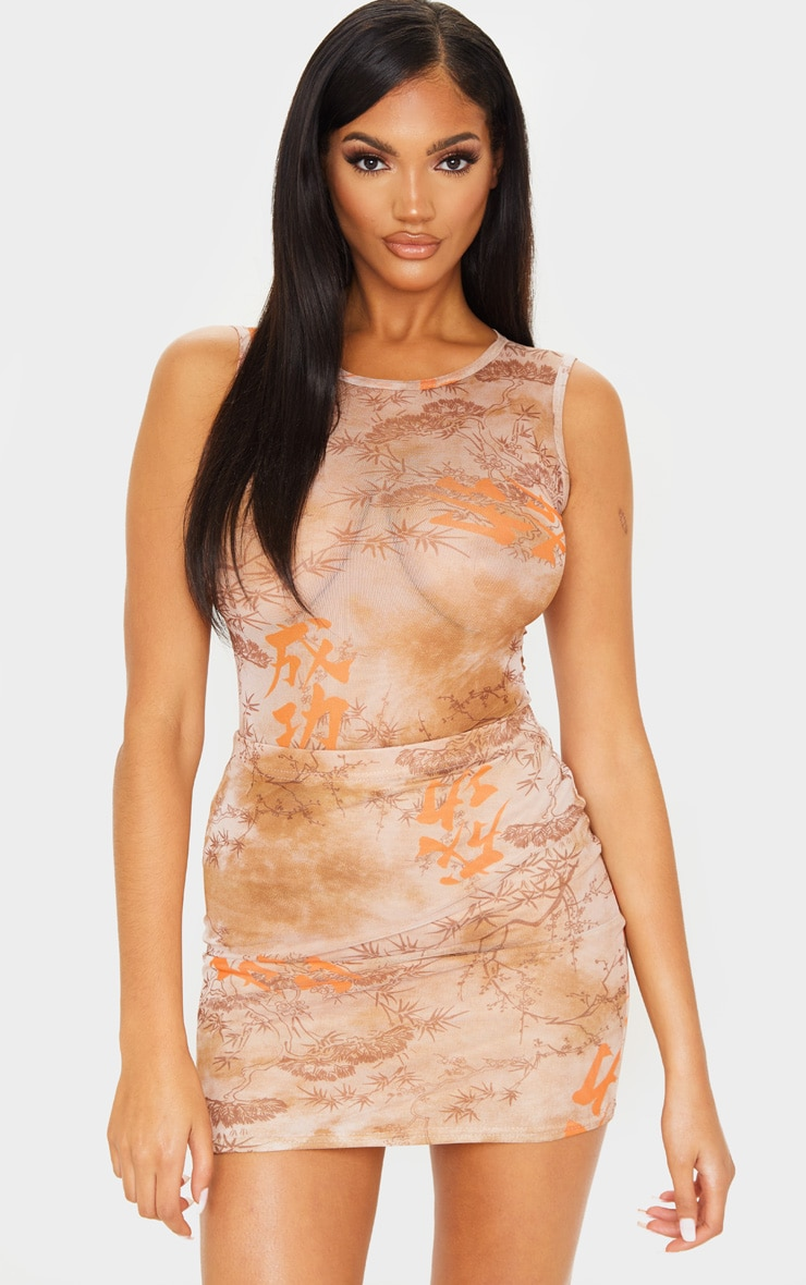 Nude Oriental Mesh Printed Mini Skirt 1