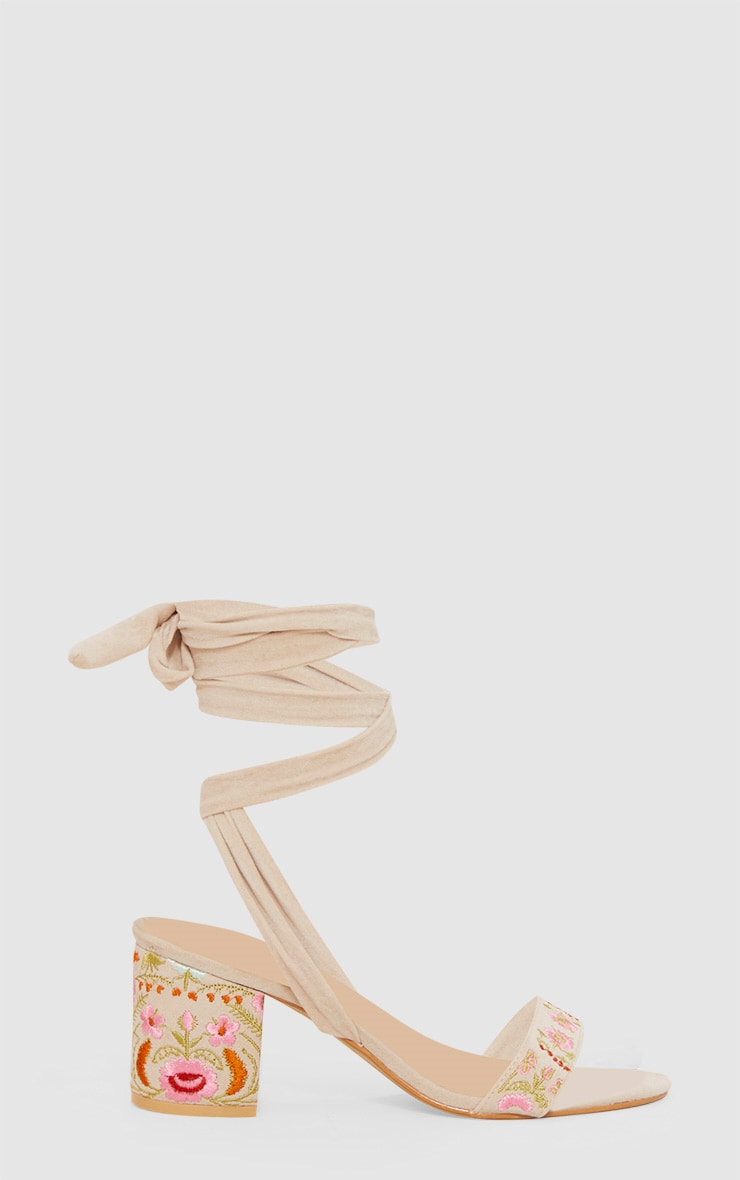Nude Embroidered Lace Up Block Heeled Sandals 3