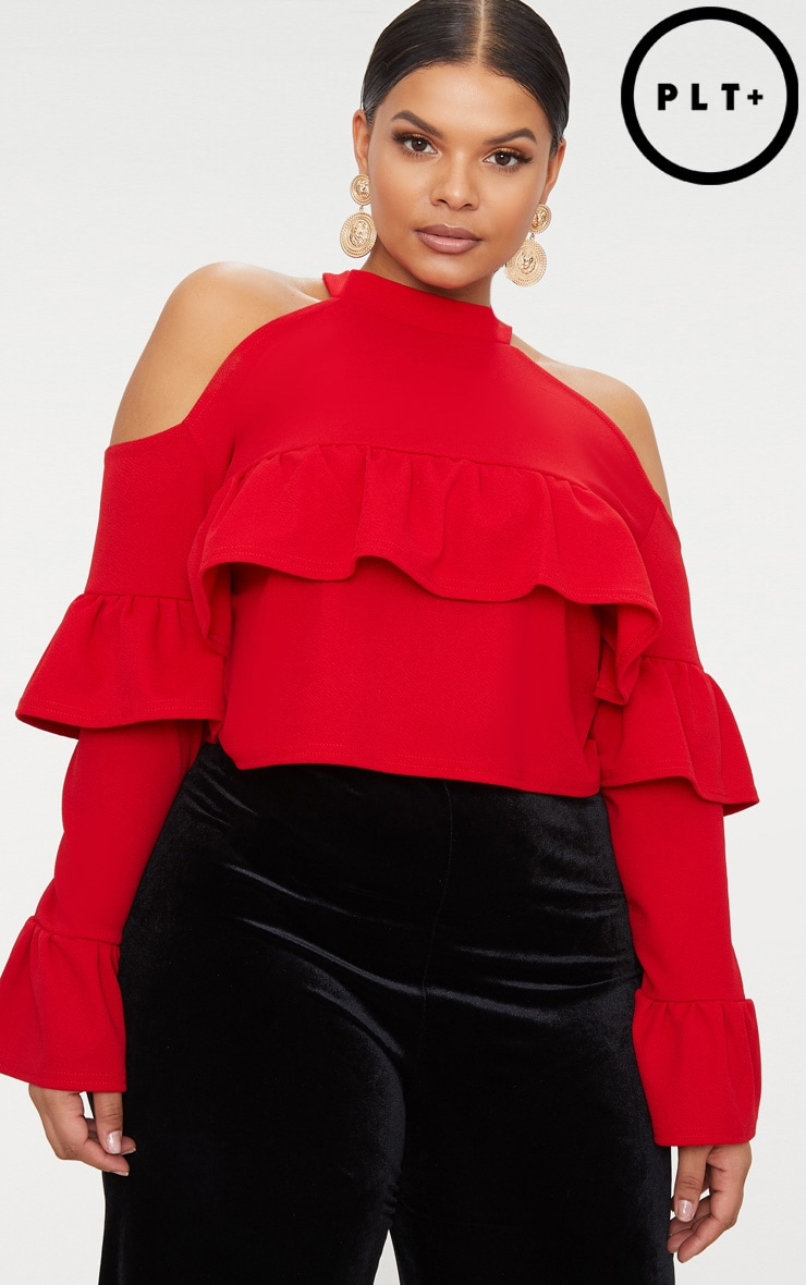 Plus Red Cold Shoulder Ruffle Detail Crop Top 1