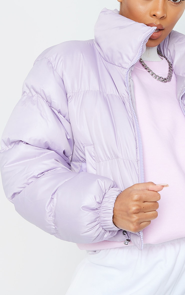 Dusty Lilac Nylon Toggle Hem Puffer Jacket 4