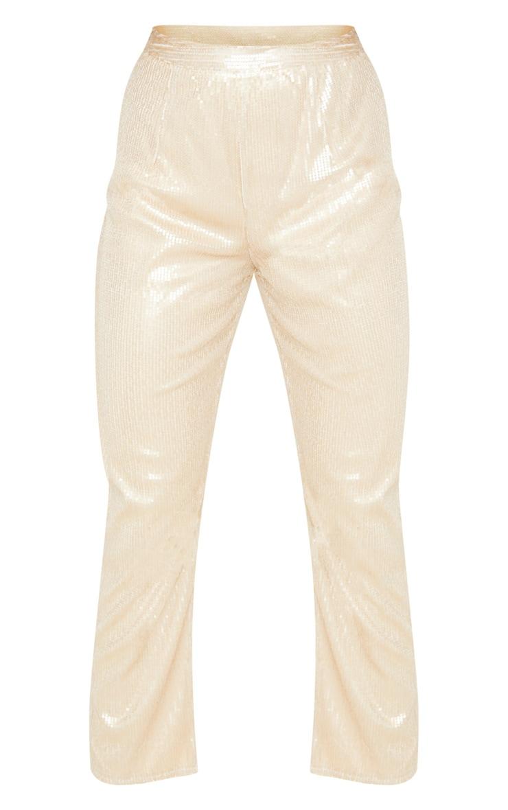 Pantalon droit taille haute en sequins dorés 3