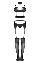 Black Lace Strappy Choker Full Lingerie Set 2