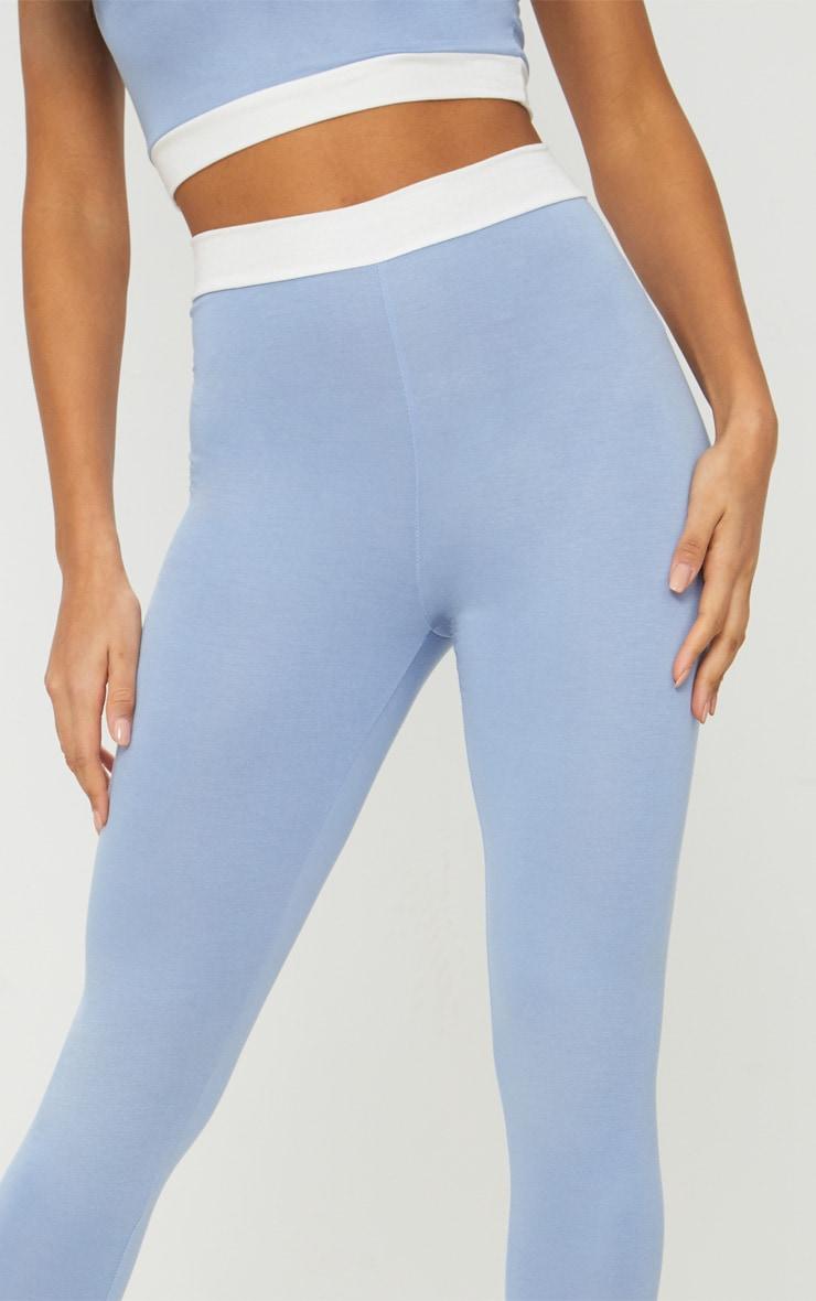 Legging bleu cendré taille haute et bande contraste à la taille 4