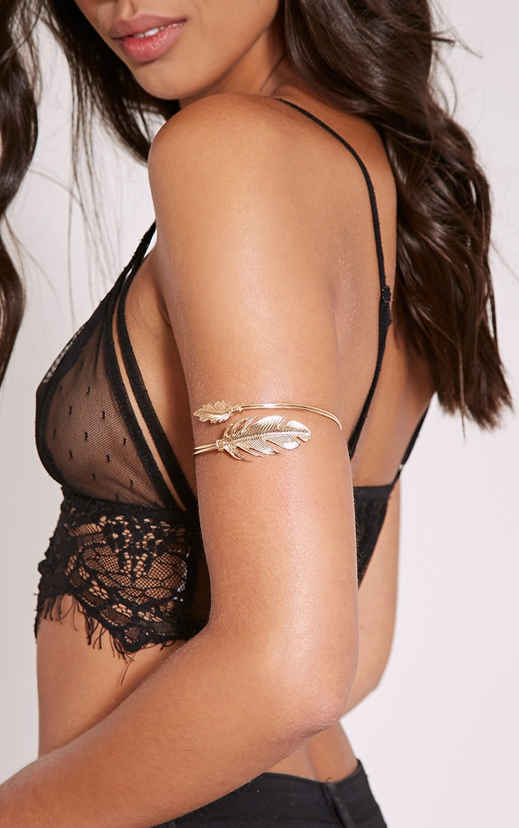 Lilian Gold Leaf Detail Upper Arm Cuff 1