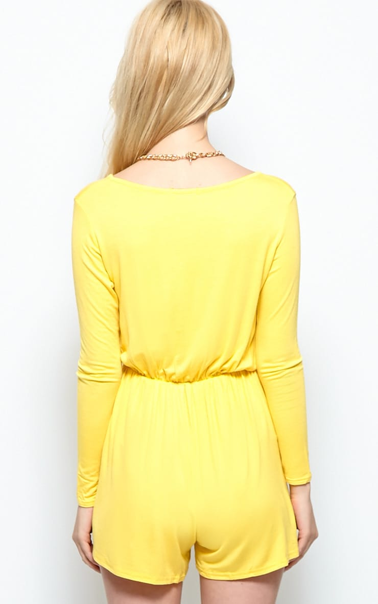 Maddison Yellow Wrap Over Playsuit  2