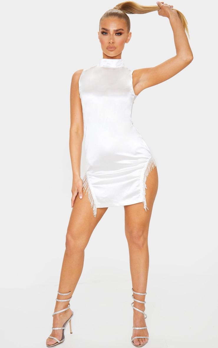 White Satin High Neck Sleeveless Beaded Trim Bodycon Dress 3