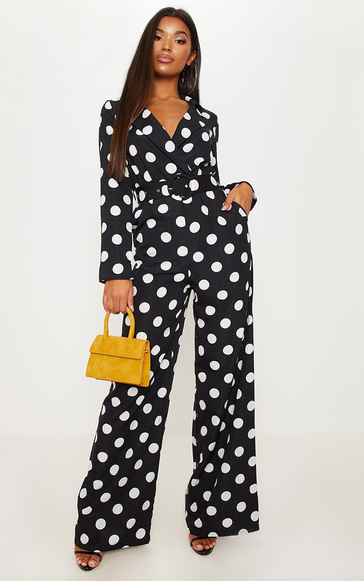 Monochrome Polka Dot Belt Detail Wide Leg Jumpsuit 1