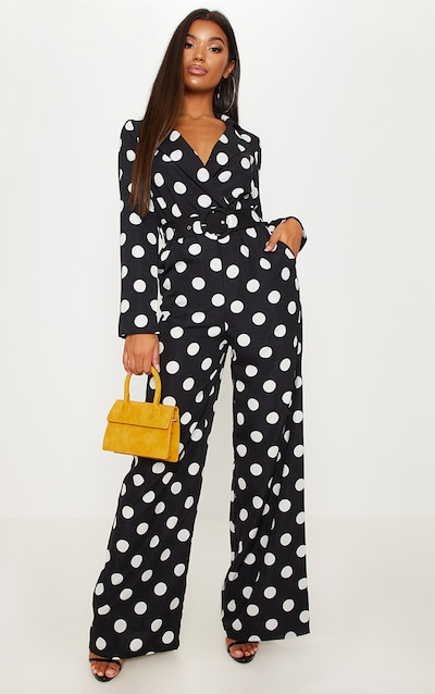 66acf19f9409 Monochrome Polka Dot Belt Detail Wide Leg Jumpsuit