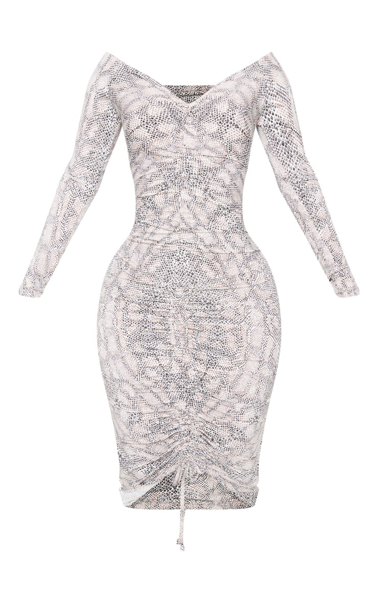 Shape Taupe Snake Print Slinky Ruched Bardot Midi Dress 3