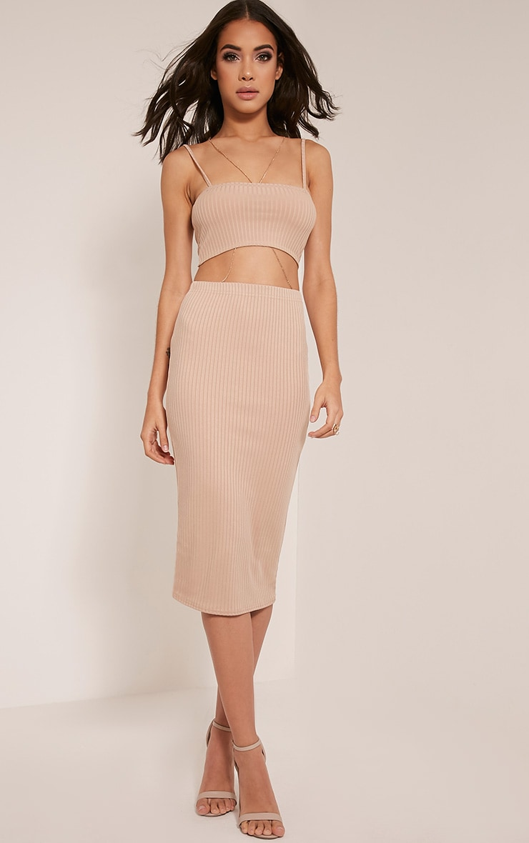 Juliana Stone Ribbed Midi Skirt 1