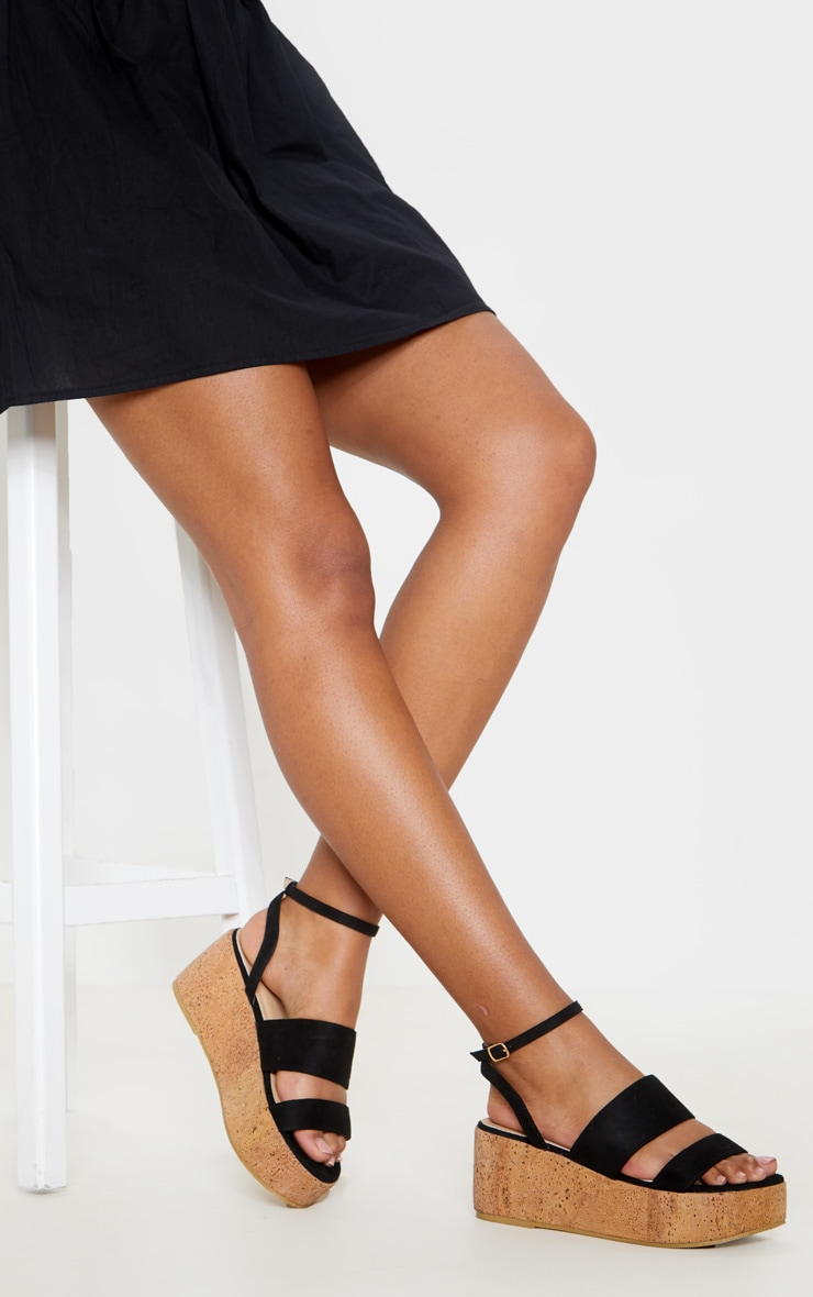 Black Twin Strap Cork Flatform Sandal 1