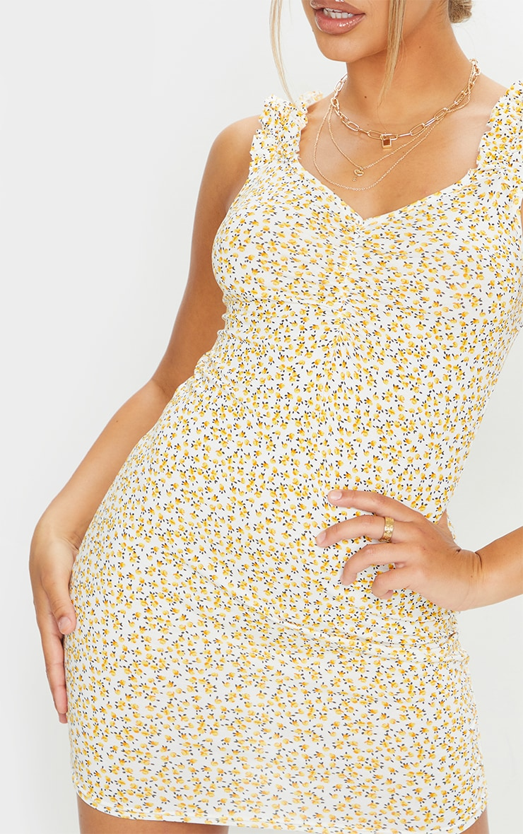 Yellow Ditsy Floral Ruched Bodycon Dress 4