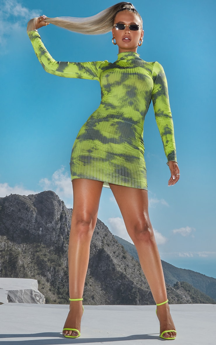 PRETTYLITTLETHING Green Tie Dye Ribbed High Neck Long Sleeve Bodycon Dress