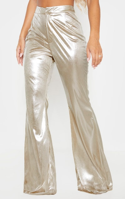 Metallic SIlver Tailored Extreme Flared Trouser