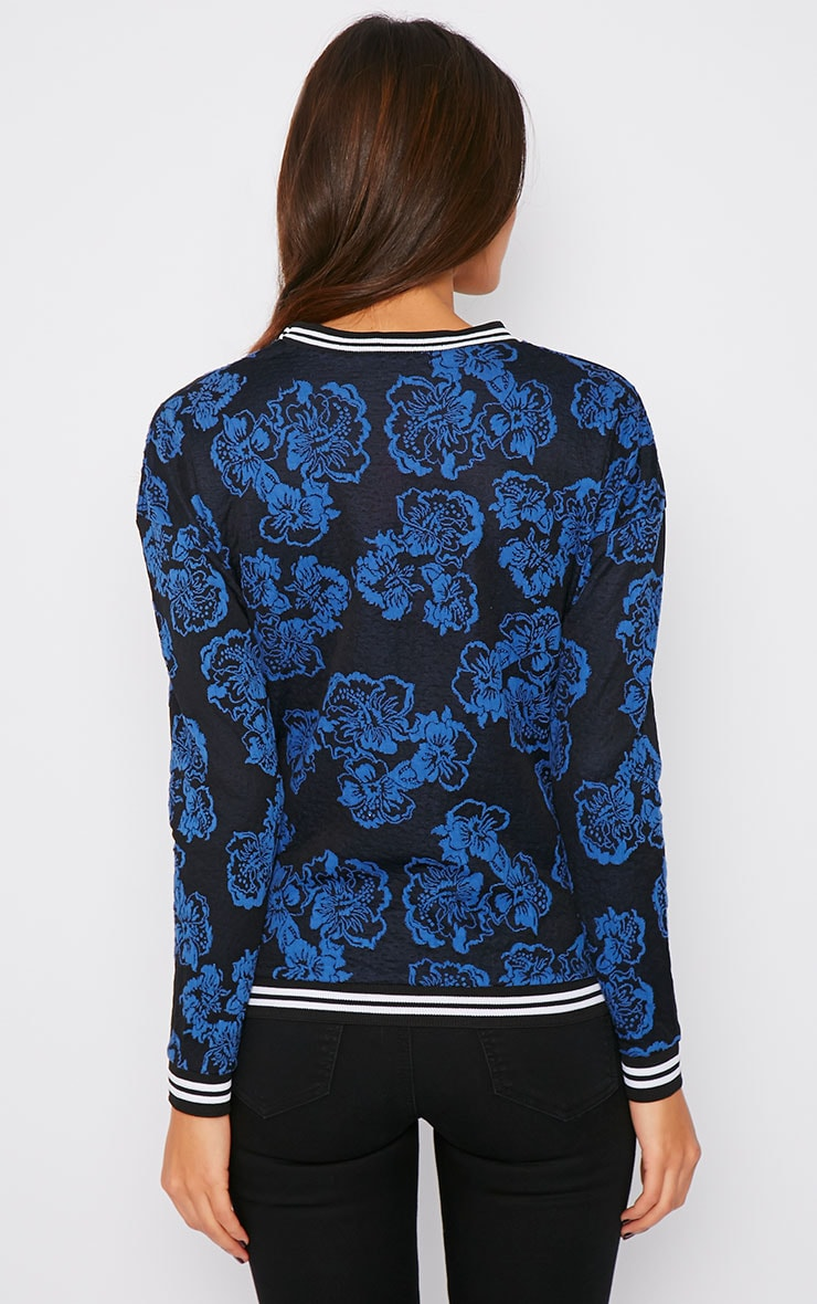Valentina Blue Floral Embroidered Sports Trim Sweater 2